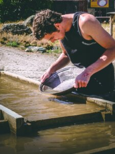 Panning for gold nuggets